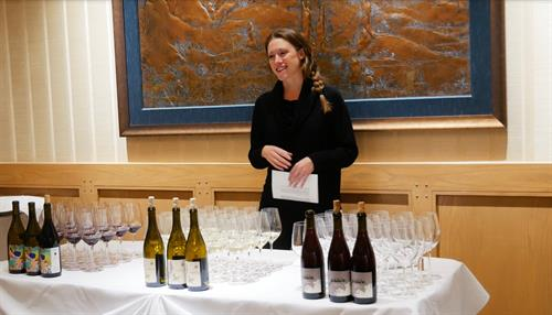 Ashley Hausman, master of wine, conducts wine tastings every evening