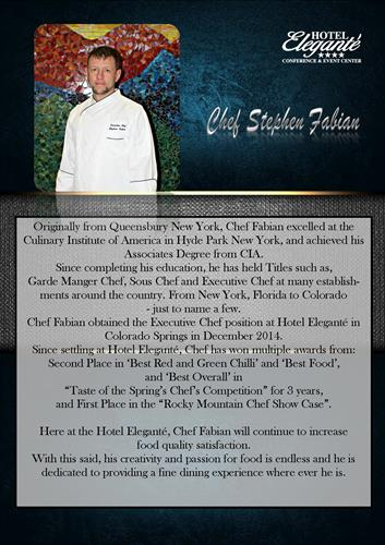 Chef Fabian's delicious menus are inspired and creative. It's a must try for your special occasions.