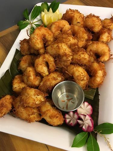 Coconut Shrimp and Apricot Horseradish