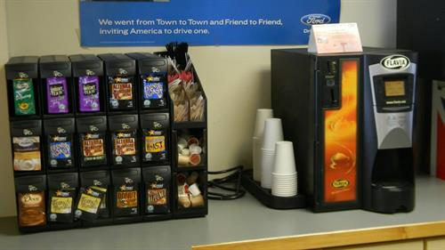 Coffee, tea and water is available at our customer lounge