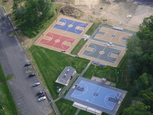 Aerial of 5 basketball courts