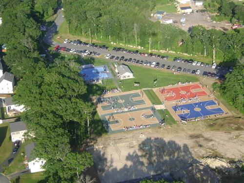 Aerial of 2 volleyball courts