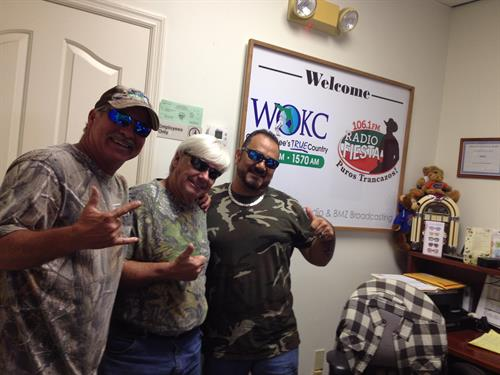 WOKC Morning Show host Billy Dean, General Manager of WOKC/WAFC Wayne Cunningham, WAFC On-Air Personality Paco!