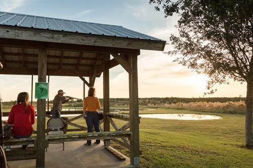 2 championship sporting clay courses in Florida will impress and challenge shooters from novice to advanced:  2 Courses (14 & 15 stations) 5-Stand (25 Bird) Wobble Trap (25 Bird) Trap and Skeet Field