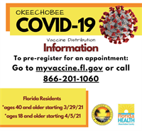 Okeechobee County COVID-19 Vaccination Update for 40+ and 18+