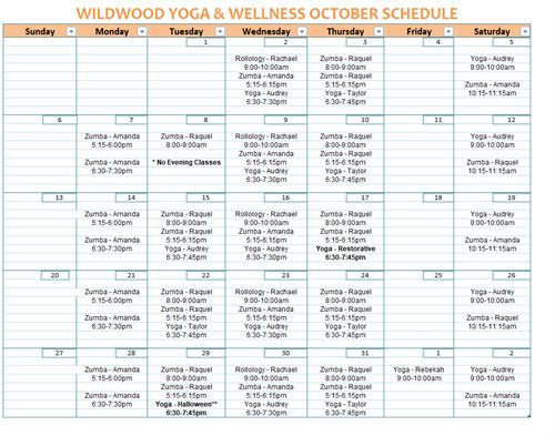 October Schedule for Wildwood Yoga & Wellness