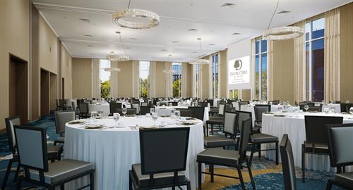 The Bridges Ballroom features floor-to-ceiling windows and state-of-the-art AV capabilities