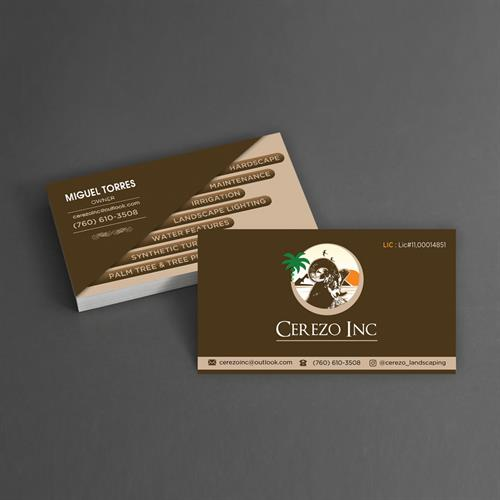 Business Card and Logo Design for Cerezo Landscaping, Inc.