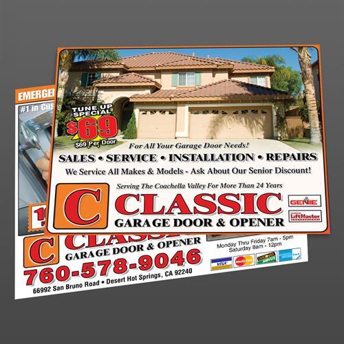 Postcard Flyer Design for Classic Garage Doors