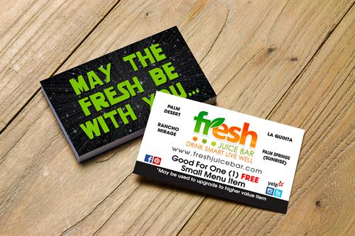 Business Card Design for Fresh Juic Bar