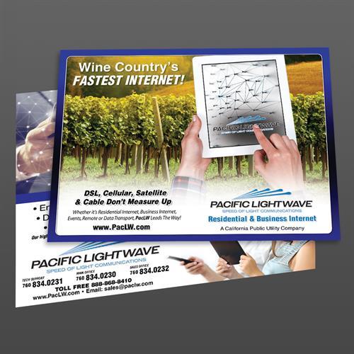 EDDM DIrect Mail Postcard Design for Pacific Lightwave