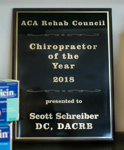 ACA Rehab Chiropractor of the Year
