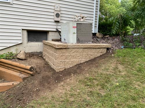 Small retaining wall built buy our owner Jack Hartigan in place of a failing lumber retaining wall.