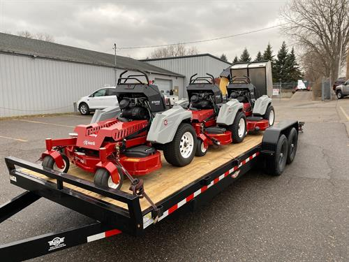 "New Lawn maintenance equipment 3 standup Staris S-Series 52"" deck, 48"" deck, and 60"" deck with bagger. We are looking forward to using these machines to help with Spring and Fall cleanups, along with weekly lawn mowing."