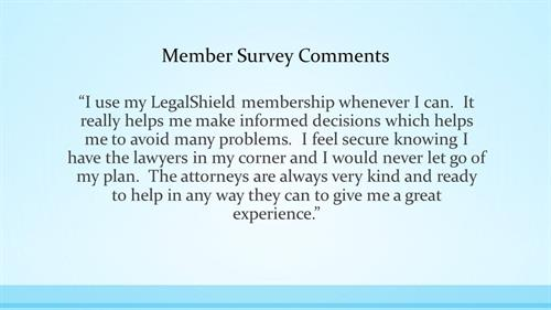 Law Firm and LegalShield Testimonial