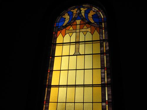 Stained glass window in the sanctuary