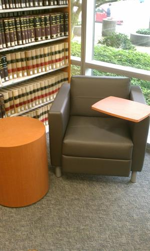 tablet arm chair at Law Library