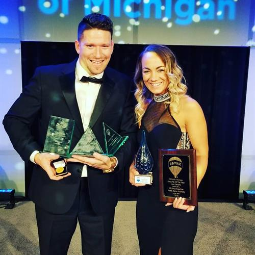 Awards for Joe & the office at the RE/MAX of Michigan Gala 2019