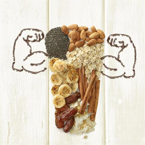 Chia Max: Roasted banana, chia seeds, dates, oats, coconut, cinnamon, almonds, peanut butter, whey