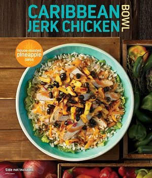 Caribbean Bowl: Chicken, pineapple salsa, cheddar cheese, black beans, rice, romaine, jerk sauce