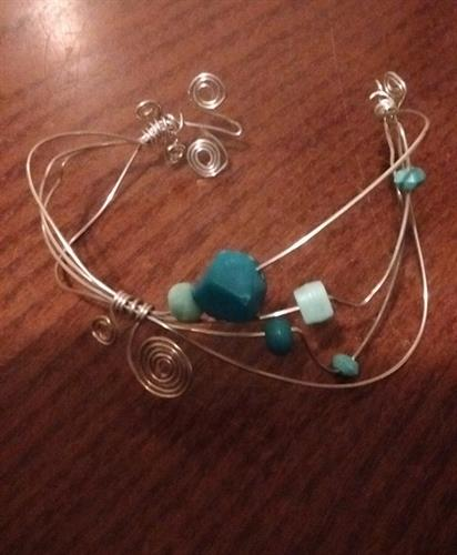 My first Wire Jewelry Bracelet I handcrafted. You can learn to make this at my store.