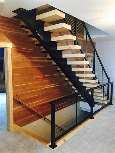 Stair tread beam and risers