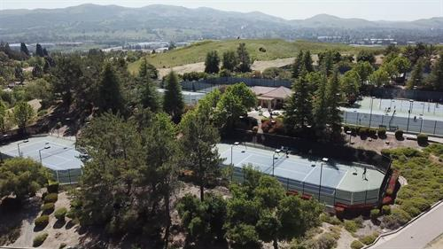 ClubSport San Ramon has 9 tennis courts -- lighted!