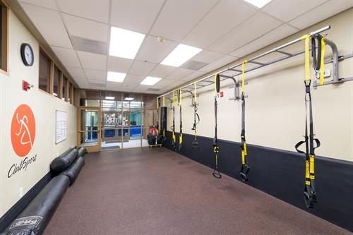 TRX Studio at ClubSport San Ramon also accommodates Heavy Bag classes.