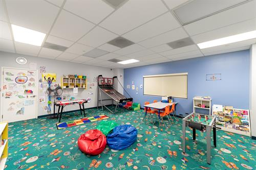 Junior Room at ClubSport San Ramon's ClubKid. Family Membership options include up to 2.5  hours of childcare per child a day.