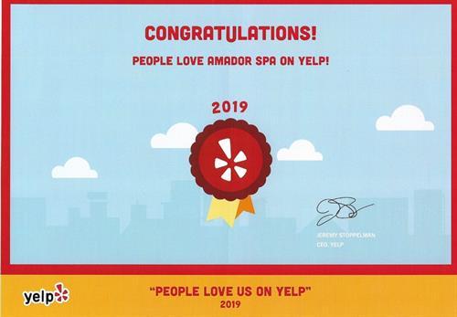 In 2019, Amador Spa won People Love Us On Yelp Award!