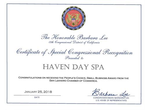 Barbara Lee, the congresswoman issued us Certificate of Recognition.