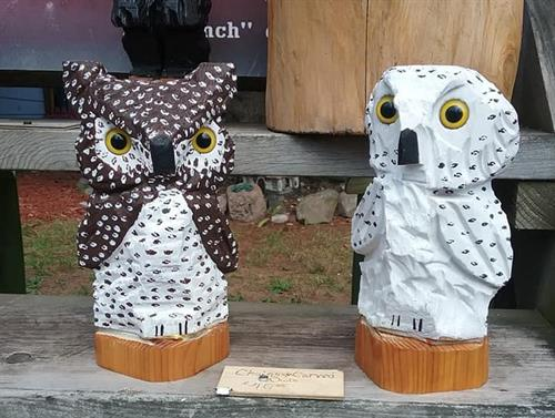 Chainsaw Carved Owls