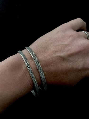 Silver Textured Bangles