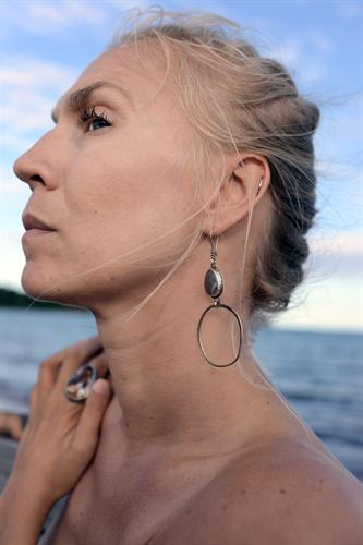 Lake Superior Agate Earrings. Mexican Agate Ring. Photo by Madeline Brown.