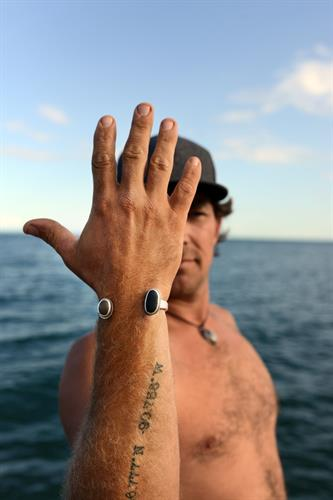 Men's Beach Stone Cuff. Photo by Madeline Brown.