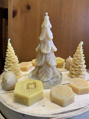 Beeswax candles, blocks, and more in the gift shop