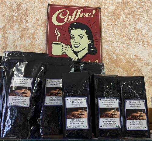 Bagged coffee available in over a half dozen roasts