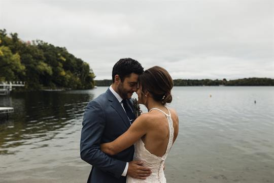 The lake makes for a wonderful backdrop for wedding photos.