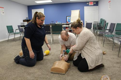 Training Room, Participants learning CPR - HCP skills
