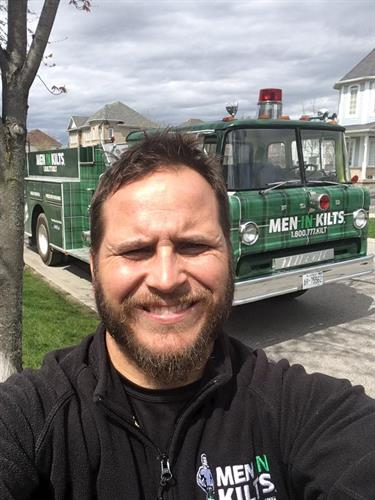 """Darcy and our firetruck """"The Bruce"""""""