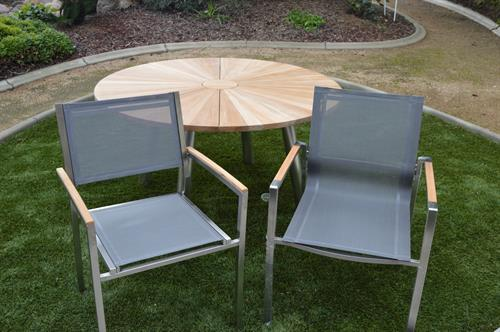 Stainless Steel And Teak Indoor/Outdoor Chairs
