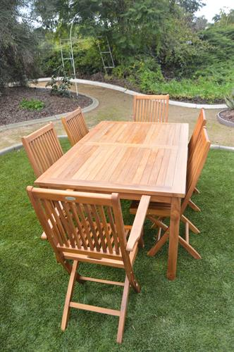 Teak Indoor/Outdoor Dining Table with Two Folding Arm Chairs and Four Folding Side Chairs
