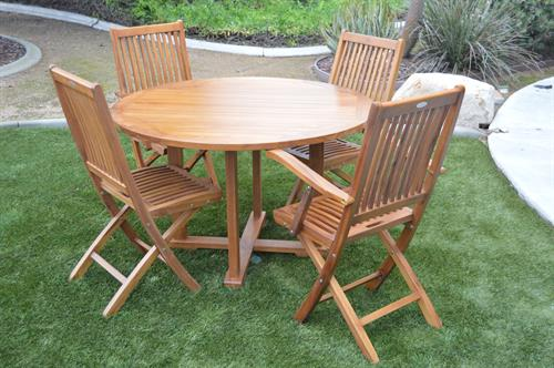 Teak Indoor/Outdoor Bistro Table and Two Side Chairs and Two Arm Chairs