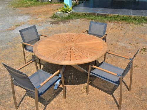 Stainless Steel And Teak Luna Table with Tera Chairs. Comparable set retails for $3750.