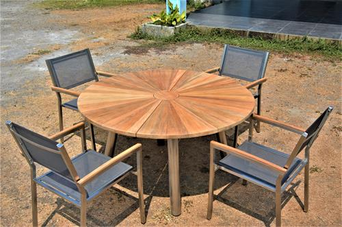 Stainless Steel And Teak Nautica Table with Montana Chairs