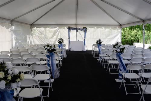 Parkway Banquets lovely ceremony area, rain or shine!