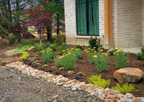 New Woodland Landscape Installation with River Rock Borders