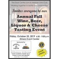 Annual Fall Wine, Beer, Liquor, & Cheese Tasting Event