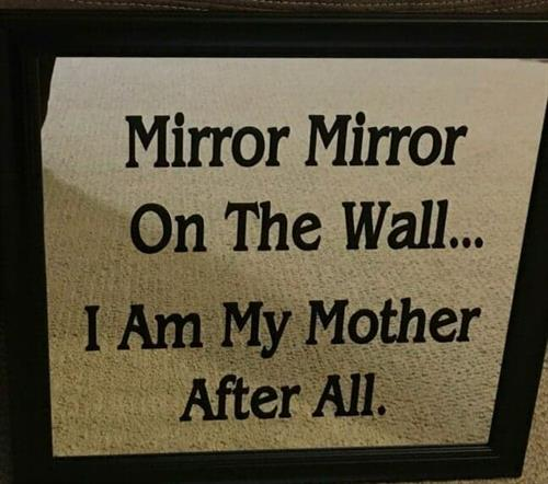 This is vinyl lettering on a mirror.
