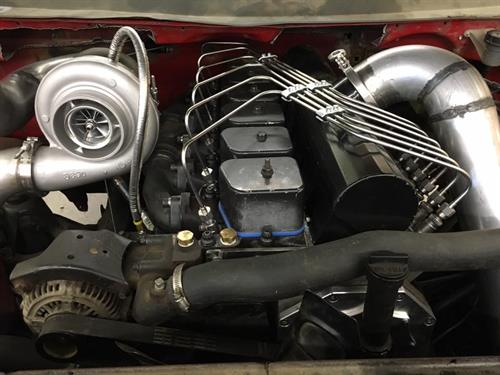 Custom bent a set of lines, updated turbo for a pulling truck. FVP built the P7100 injection pump, injectors, & turbo.
